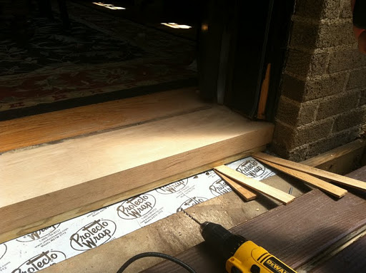 Geoff popped the toe kick into place and shimmed it level and tight to the sill. He then drilled three holes (2u2033 each from each jam and one in the center) ... & The Final Stretch! Replacing the Door Sill/Threshold   A Home In ... pezcame.com