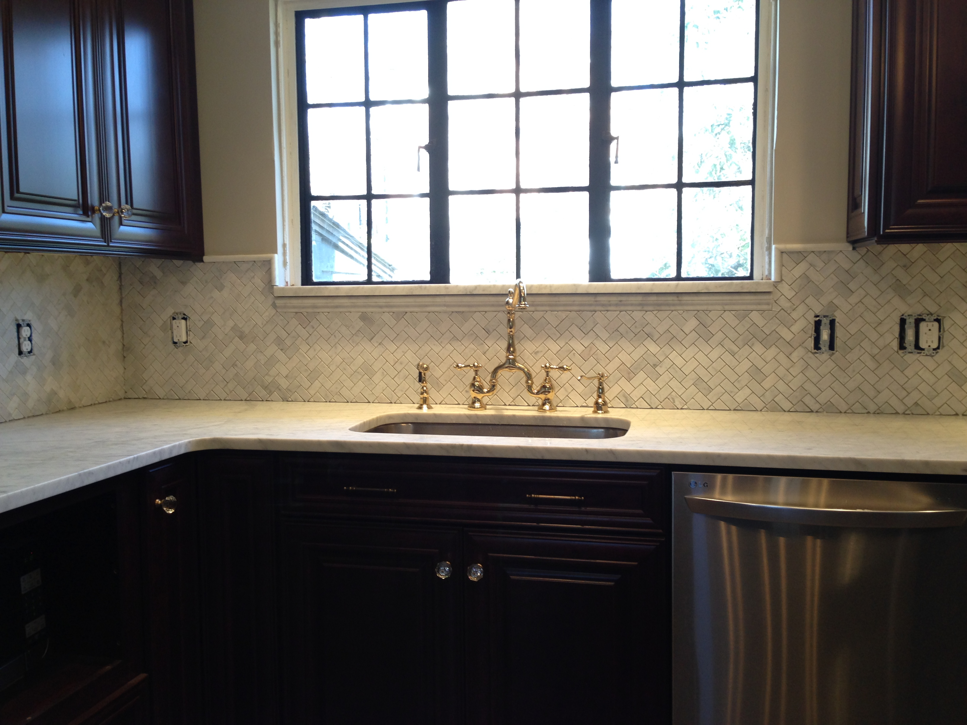 kitchen herringbone marble backsplash installation a